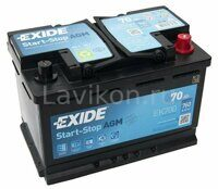 Аккумулятор EXIDE EK700 Start-Stop AGM 70 R+